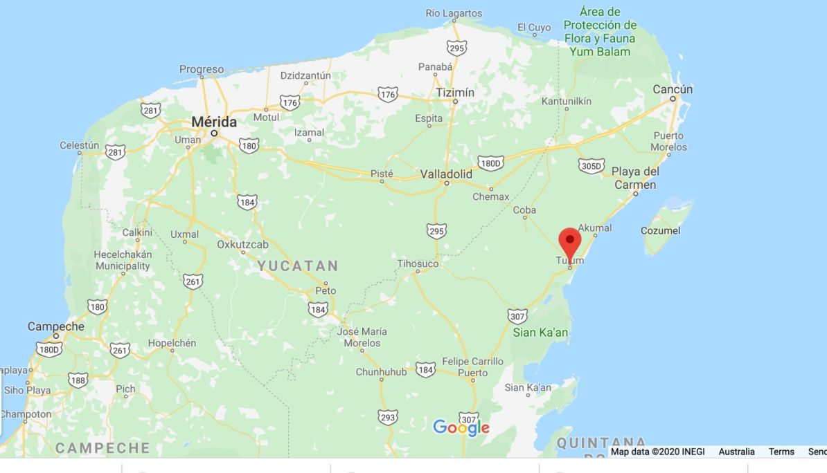 Map of Tulum and its location in Mexico