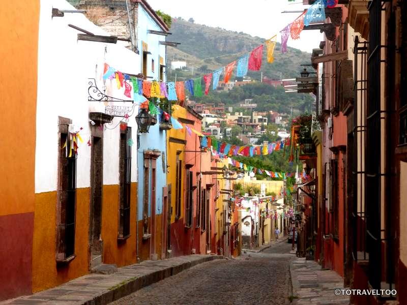 Looking back down Sollano Street in San Miguel de Allende Mexico
