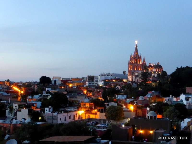 La Parroquia from the Luna Rooftop Tapas Bar in San Miguel de Allende Mexico