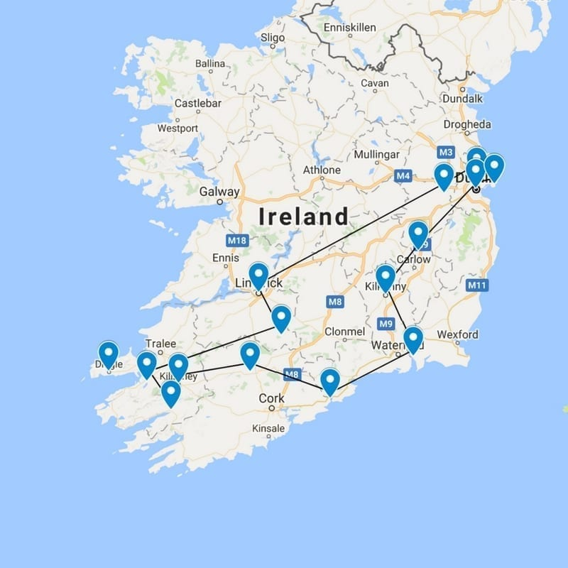 Map of our Irish Journey
