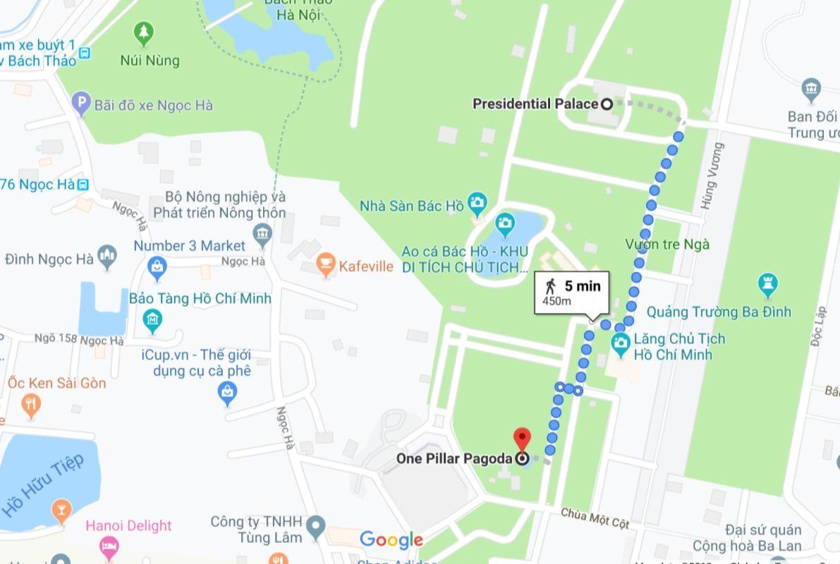 Map of location of One Pillar Pagoda