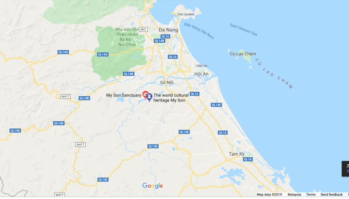 Map of My Son Location from Hoi An