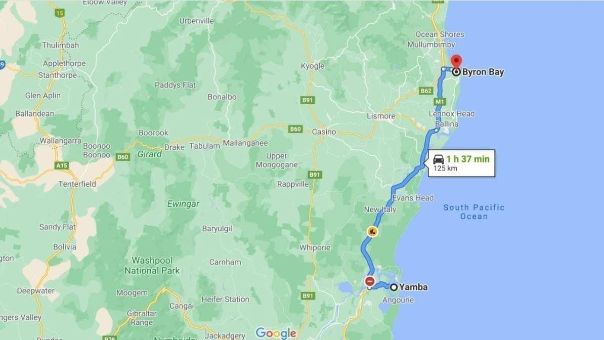 Yamba to Byron Bay Driving Map
