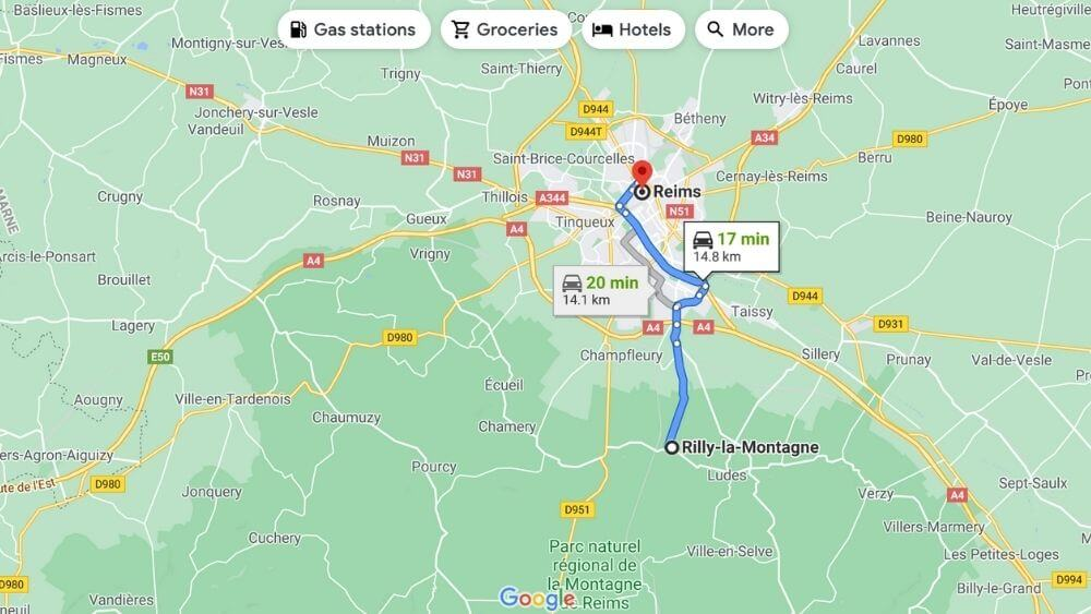 Driving route from Rilly-la-Montagne to Reims