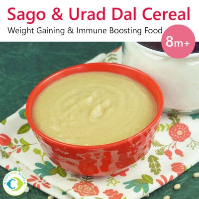 Sago Urad Dal Cereal Porridge Mix Sago Recipes Urad Dal Recipes Cereal Mix for babies and toddlers ready-made porridge mix instant mix for babies and toddlers travel-friendly food for babies sabudhana recipes tapioca pearls recipes porridge 8 months baby food