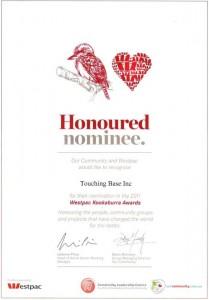 2011 Honoured Nominee Award Kookaburra Award