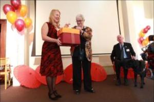 Rachel Wotton, Eva Cox and Graeme Innes at the Touching Base 10th birthday celebration. Pic: Belinda Mason