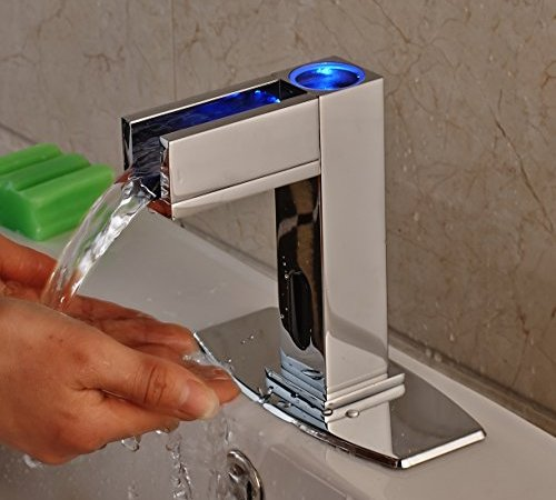 Rozin Touchless LED Light Bathroom Sink Faucet Single Cold Water ...