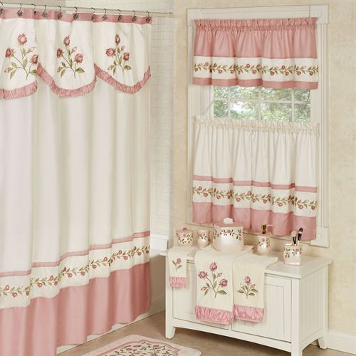 blush rose embroidered floral shower curtain