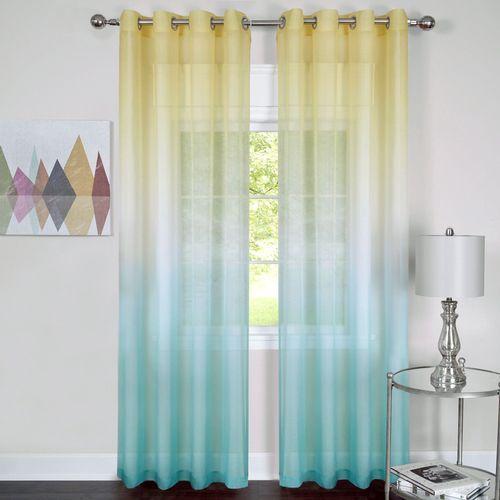Rainbow Semi Sheer Turquoise Ombre Grommet Curtain Panel