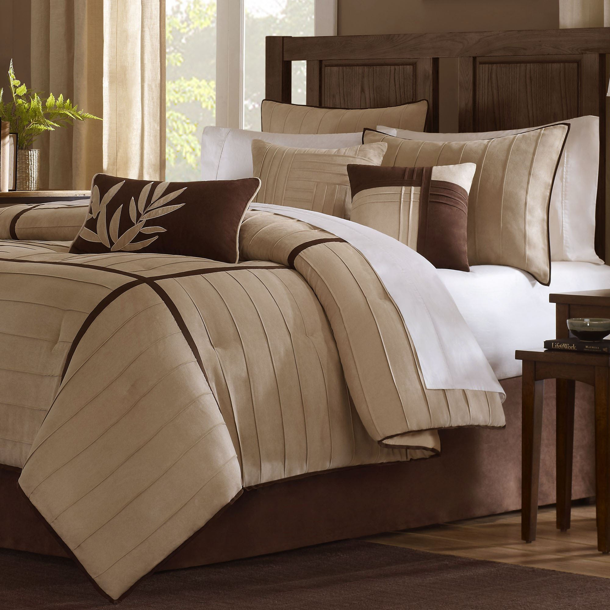 landcaster microsuede 7 pc comforter bed set