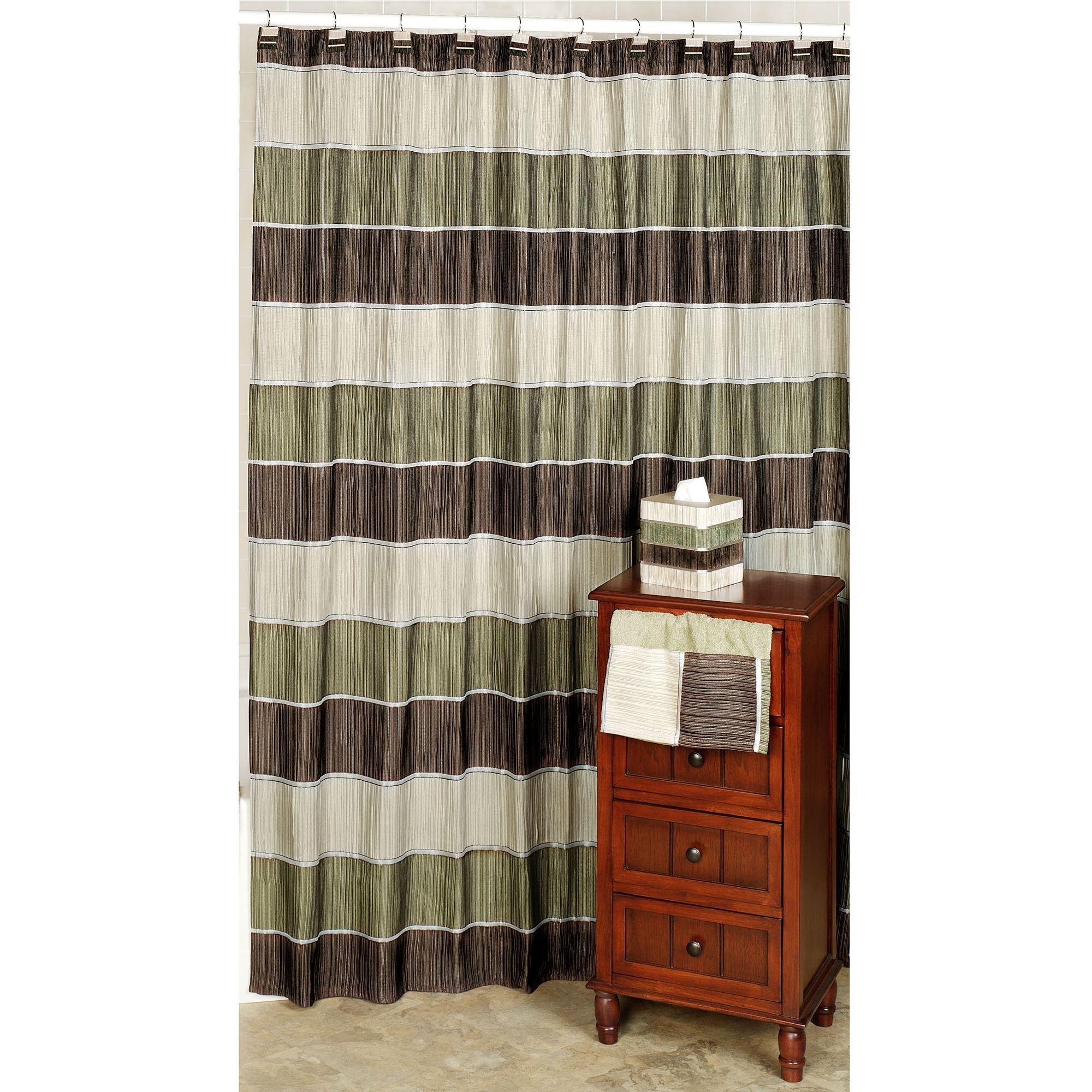 Modern Line Sage Striped Shower Curtain
