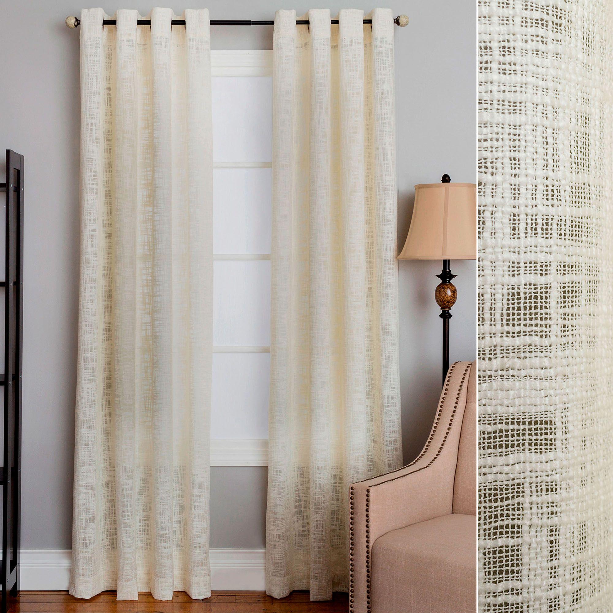 mallow slubbed semi sheer grommet curtain panel