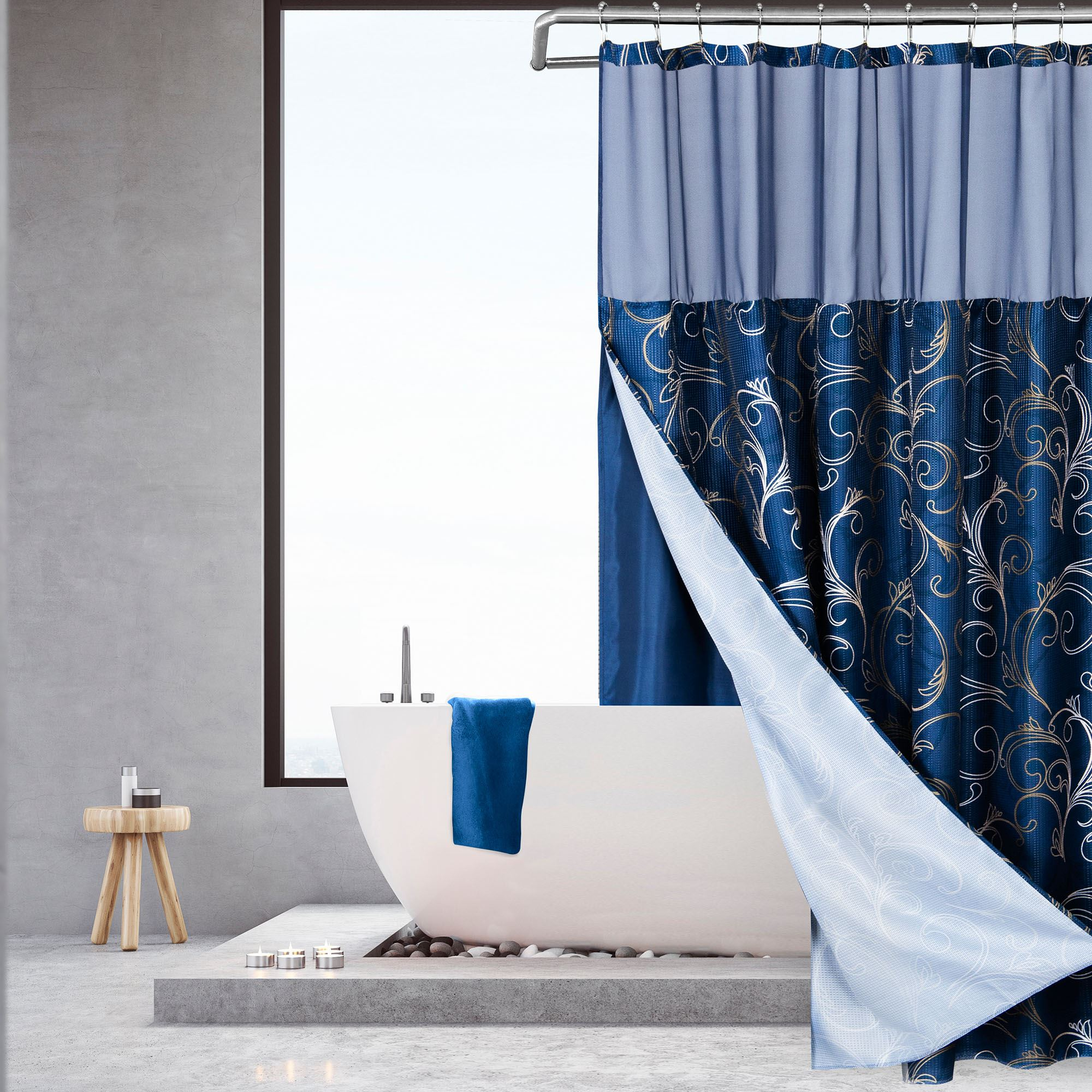 ellery navy blue and gold scrolls shower curtain with detachable liner