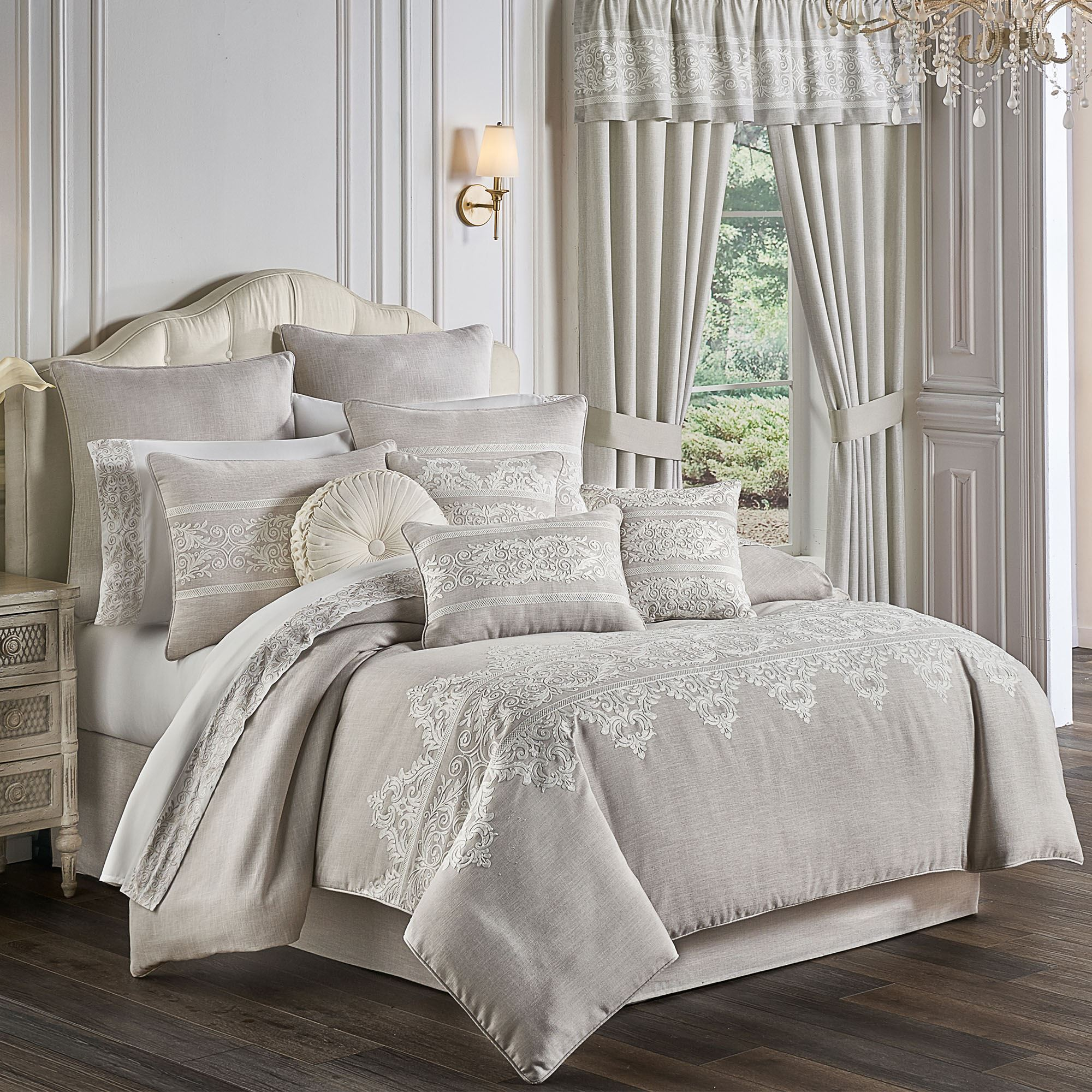maryanne beige faux linen embroidered comforter bedding by five queens court