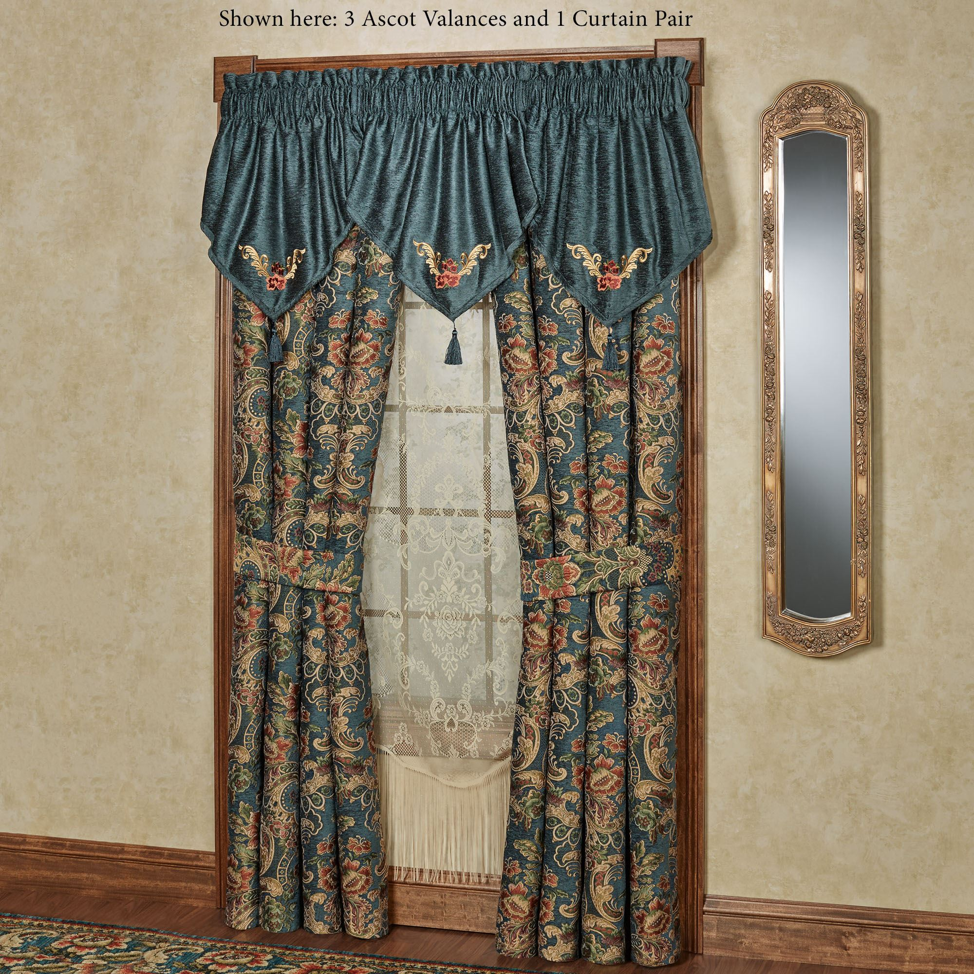 Casanova Dark Teal Ascot Valance Window Treatment