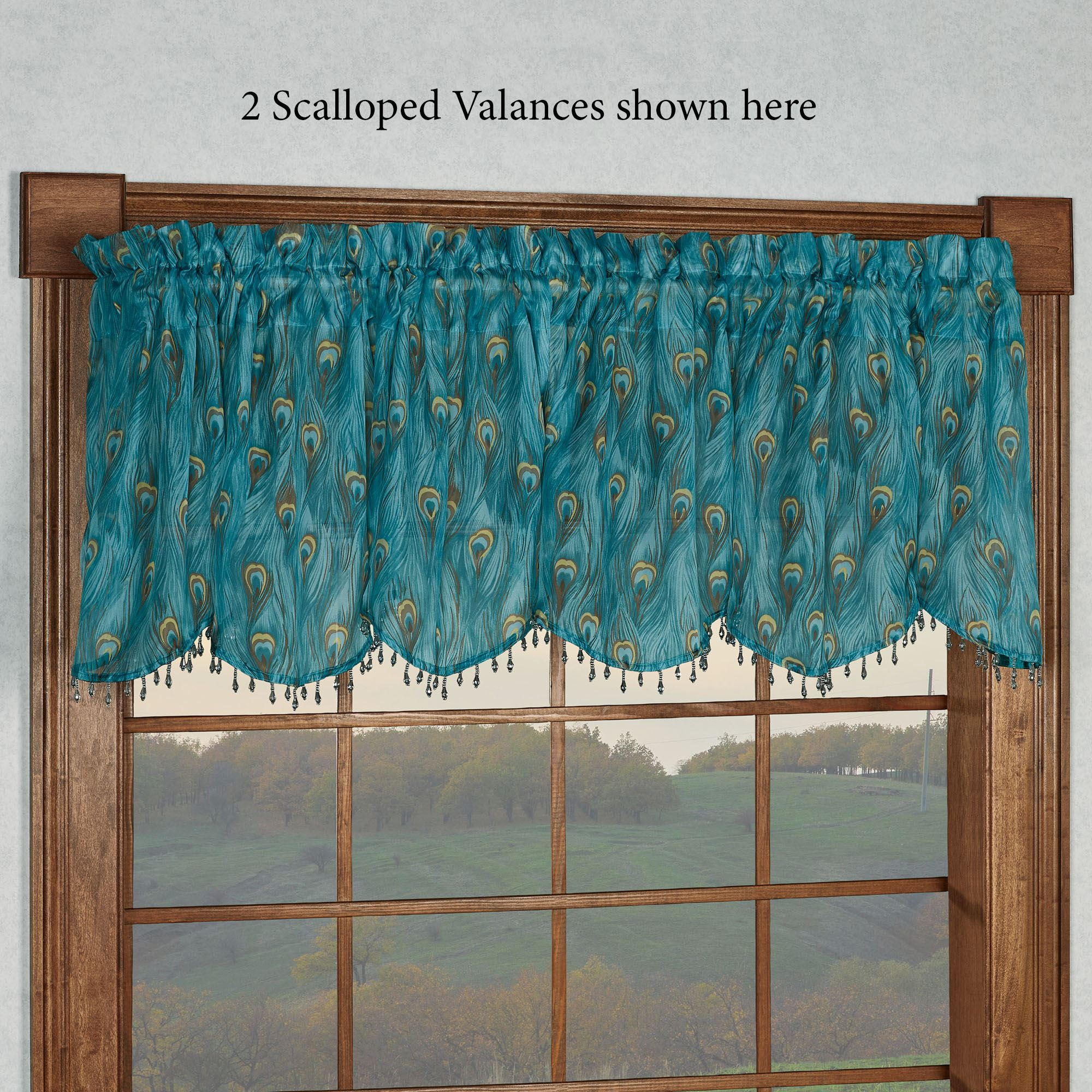 King Peacock Feather Print Sheer Valance Or Curtain Panel