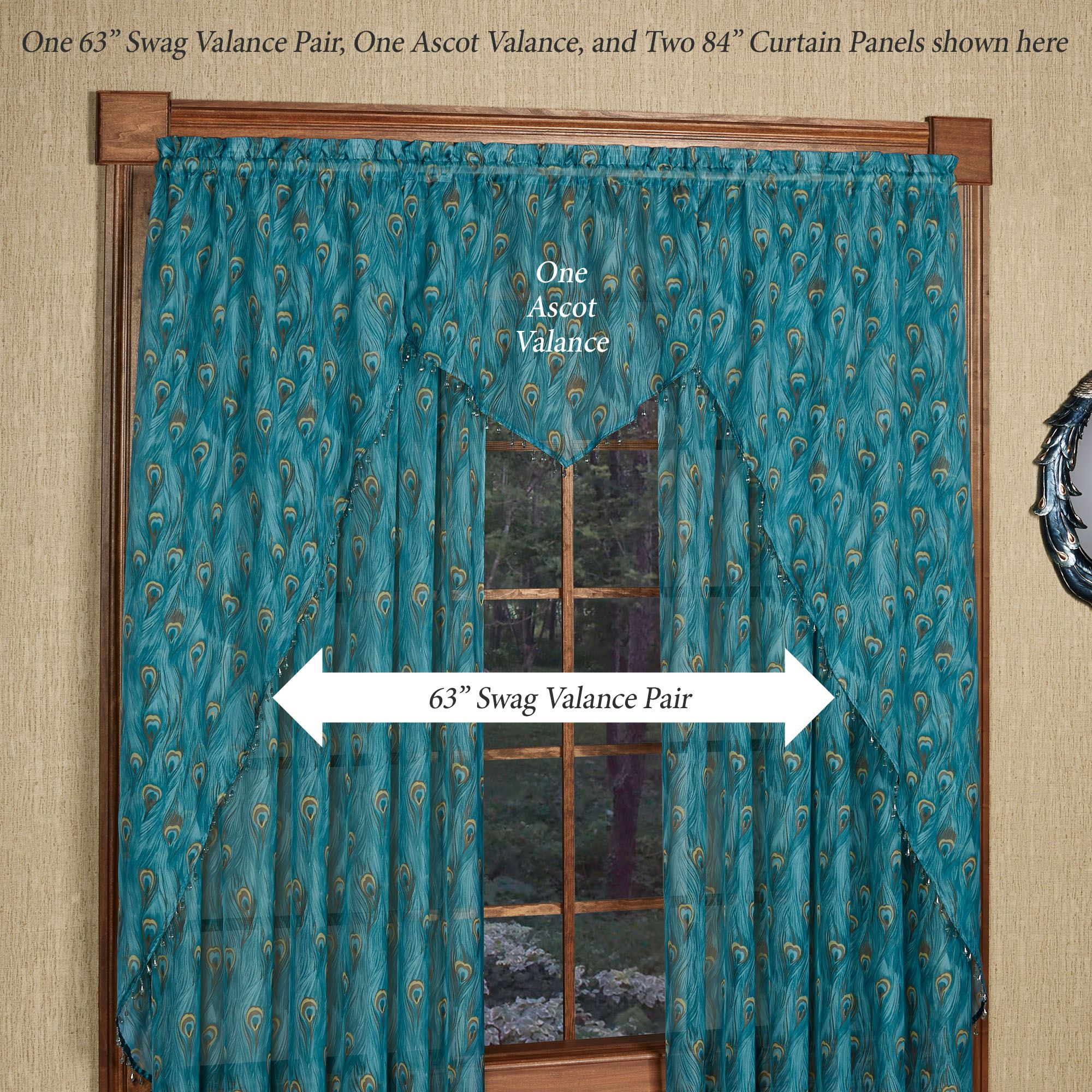 King Peacock Feather Print Sheer Window Valances Or Table