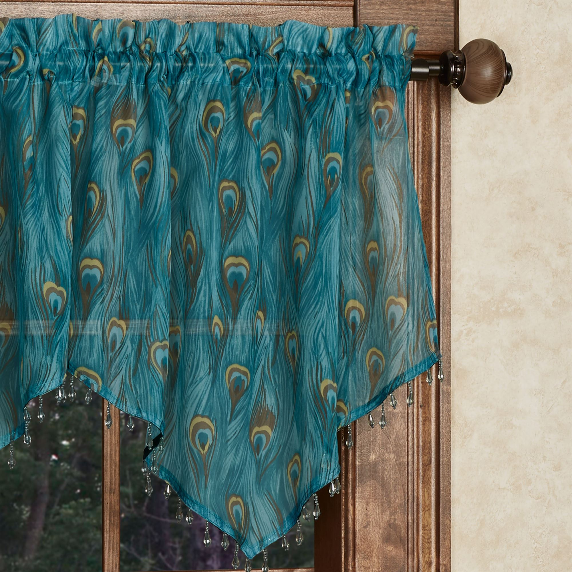 King Peacock Feather Print Sheer Ascot Valance And Window