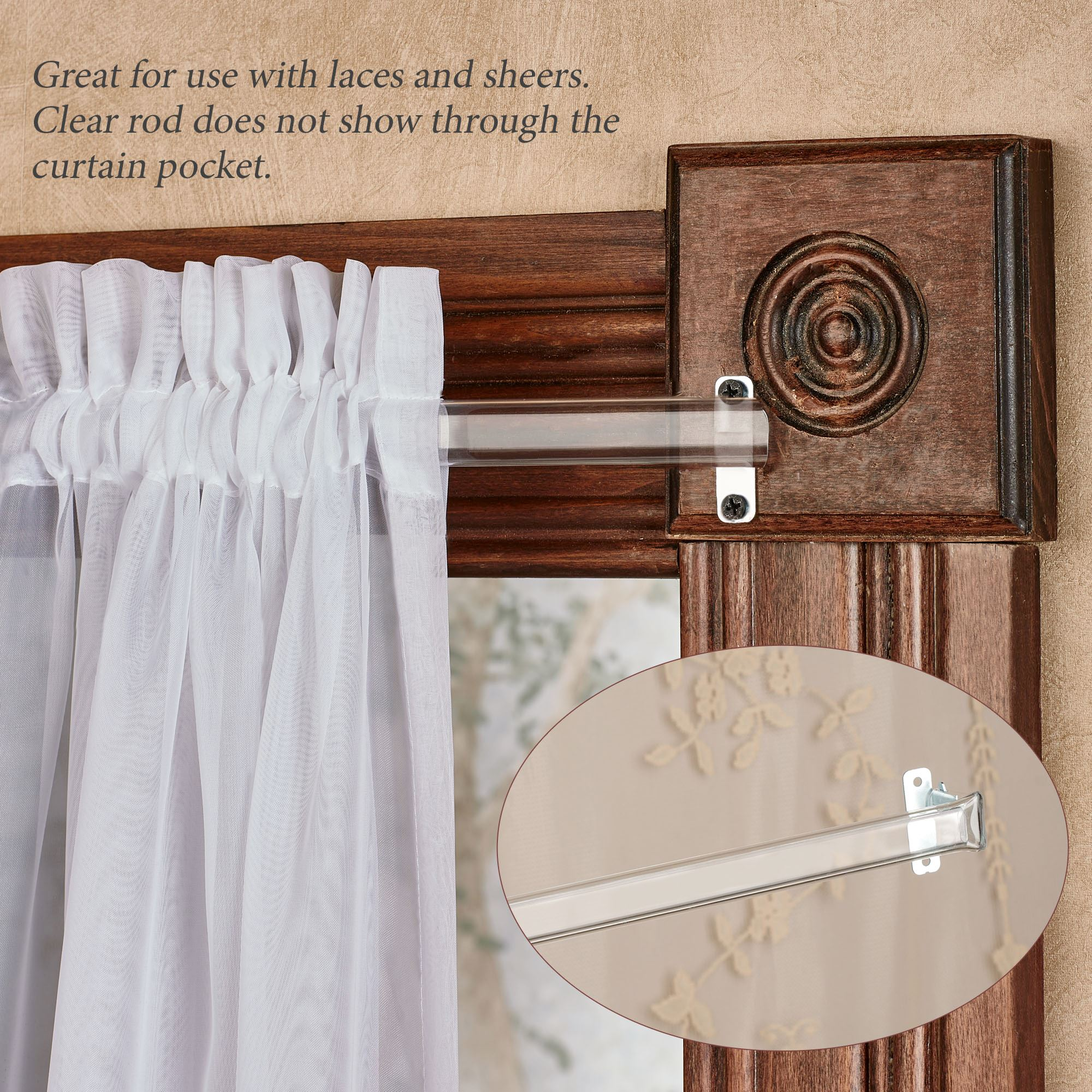 Clear Curtain Rod For Laces And Sheers 28 To 120