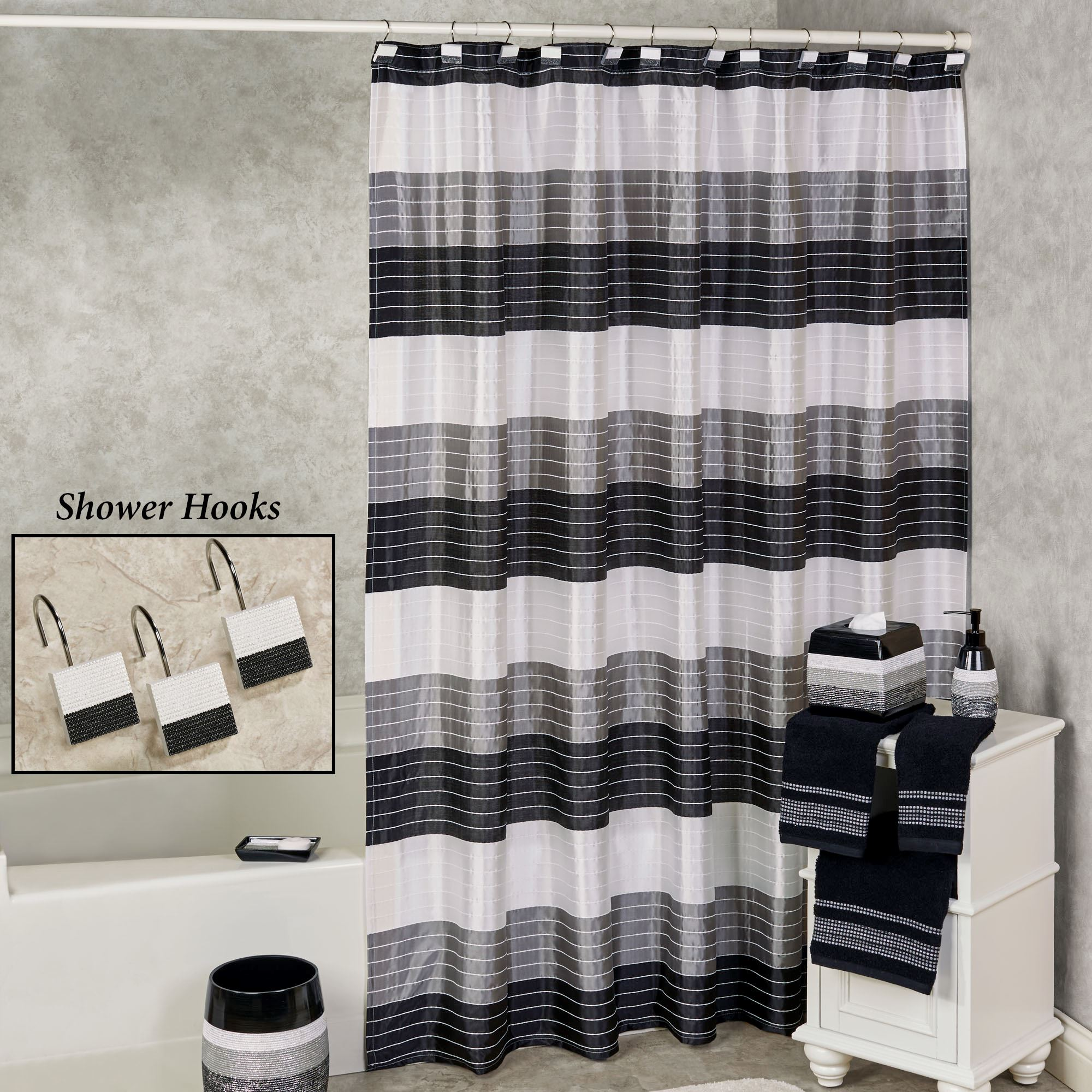 Ambrosi Contemporary Striped Shower Curtain