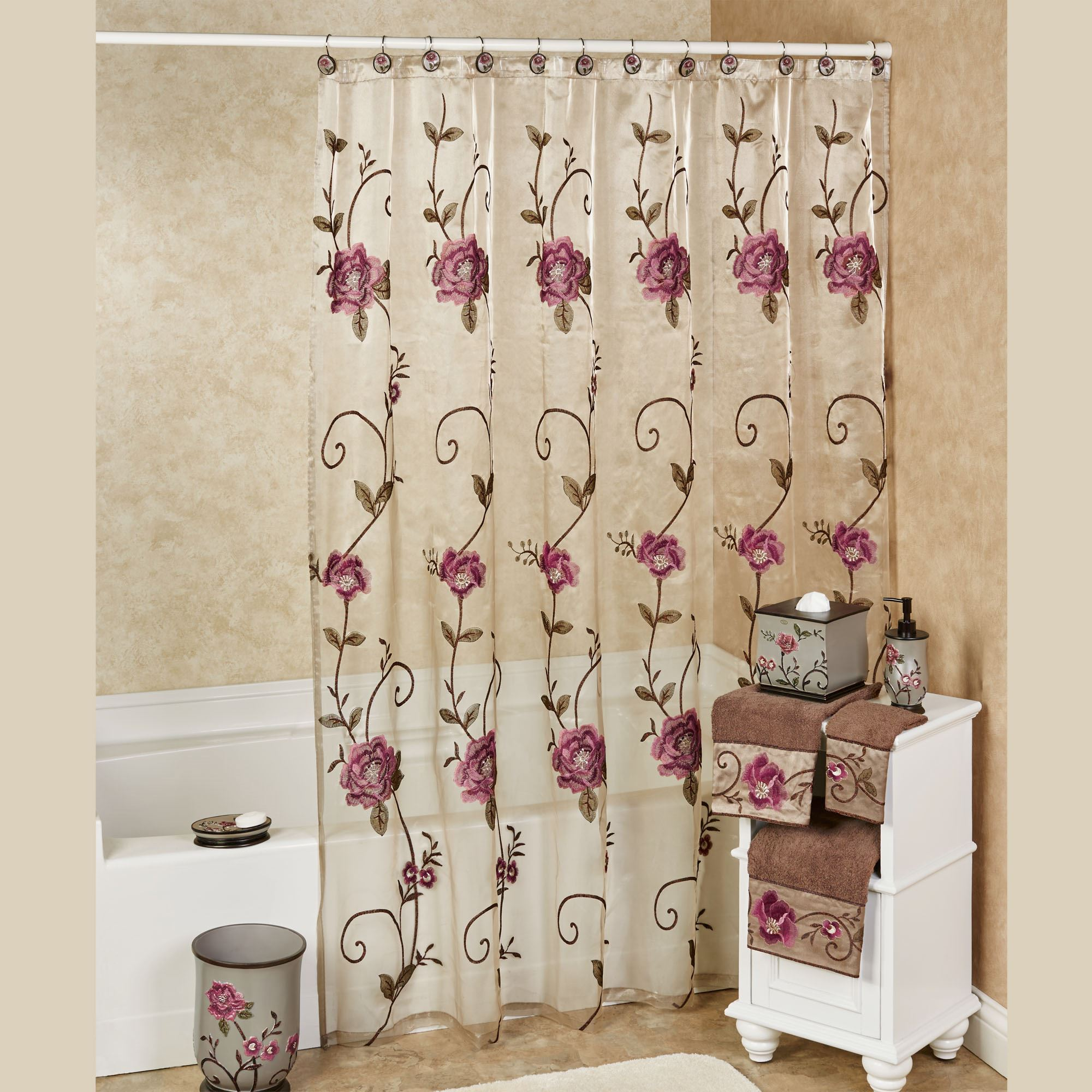 larissa embroidered floral sheer shower curtain