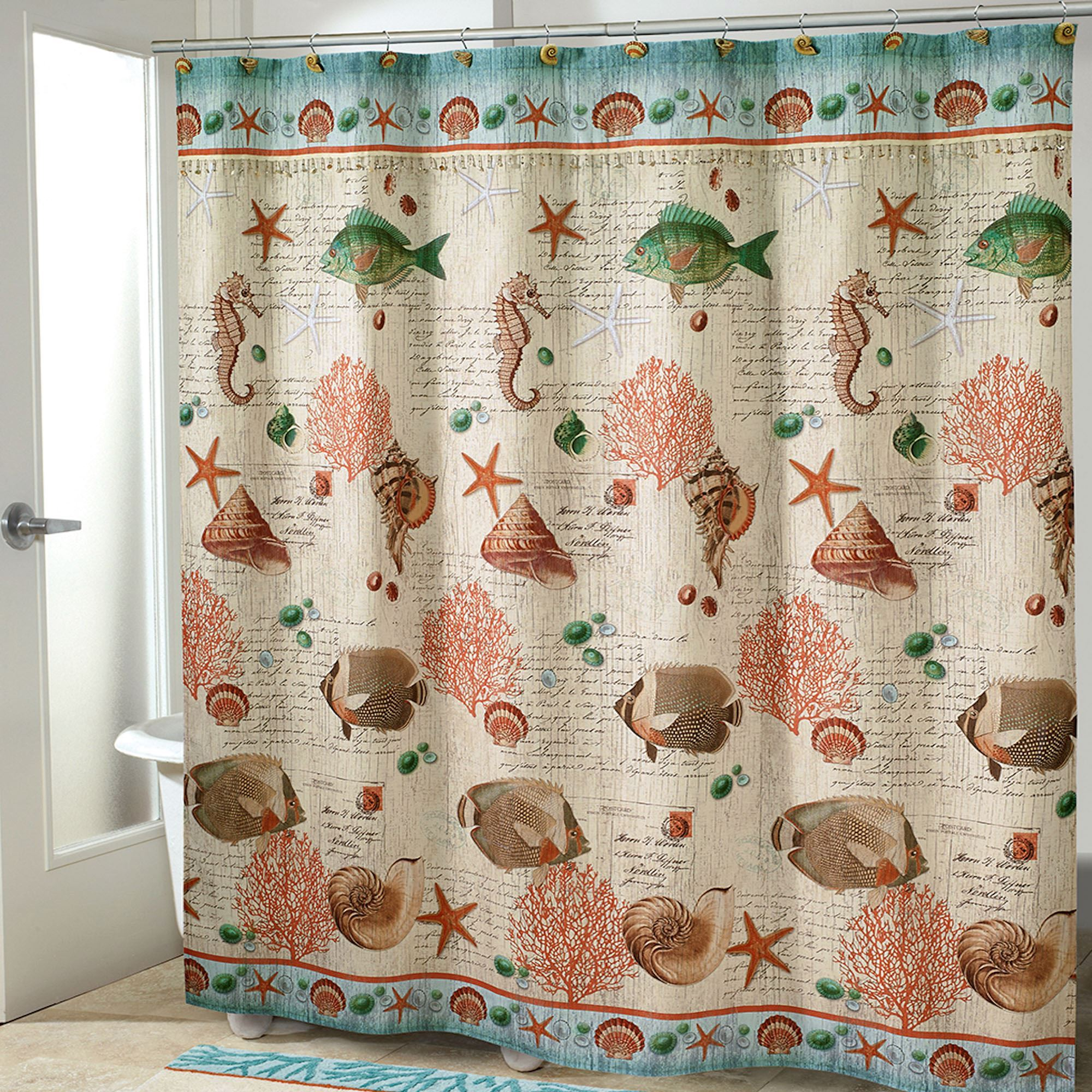 Seaside Vintage Fish Shower Curtain