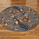 Majestic Peacock Slate Gray Round Rugs