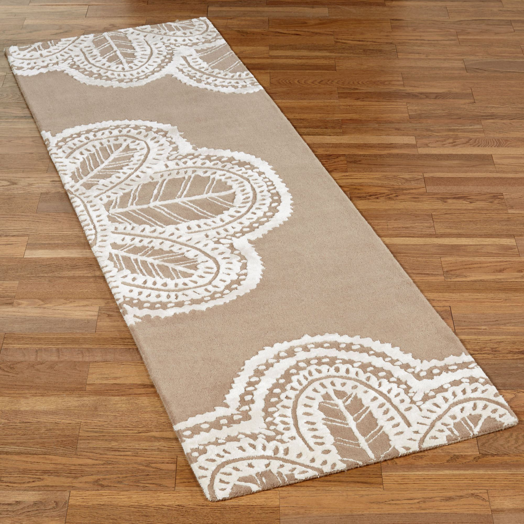 antique lace taupe rug runner