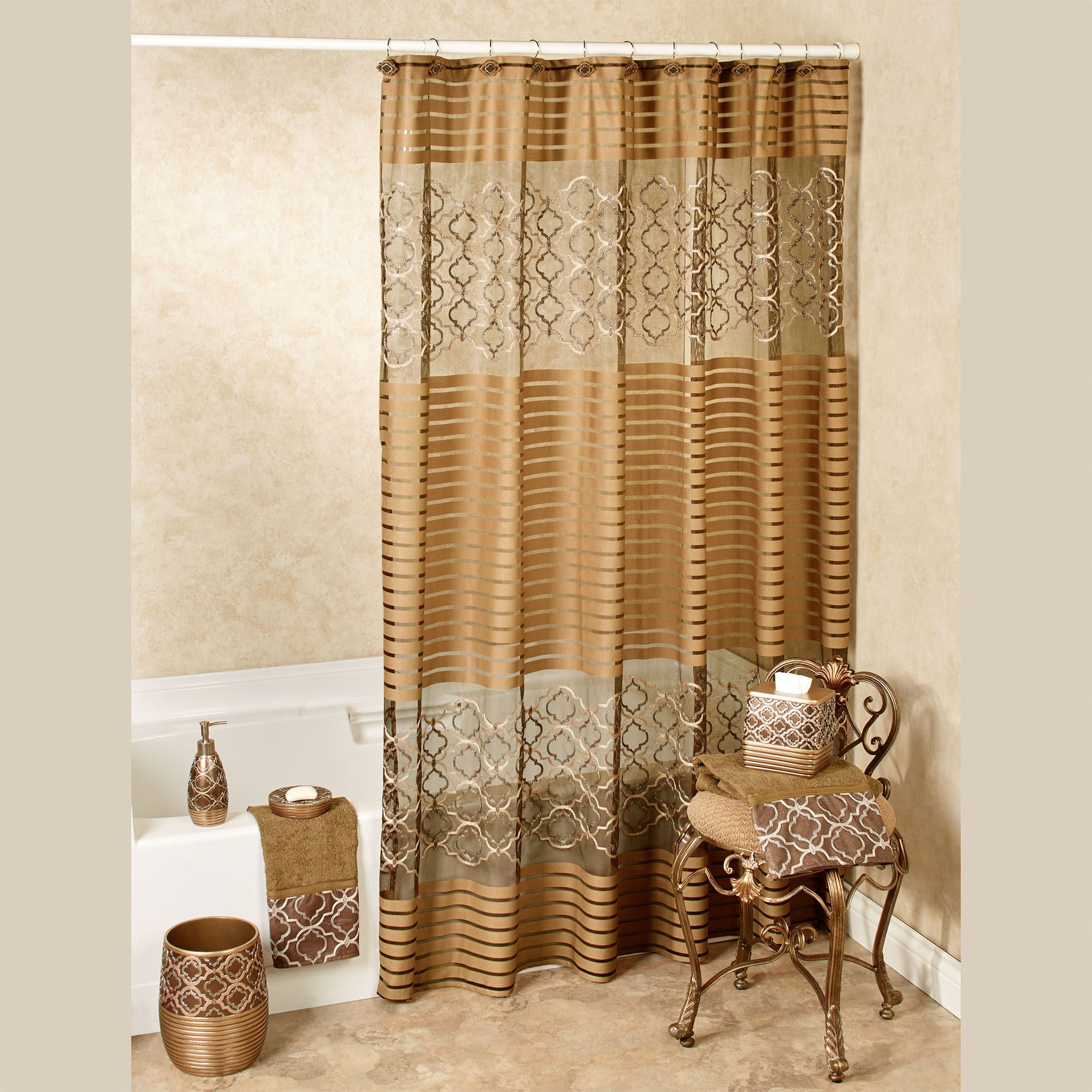 spindle embroidered medallion shower curtain
