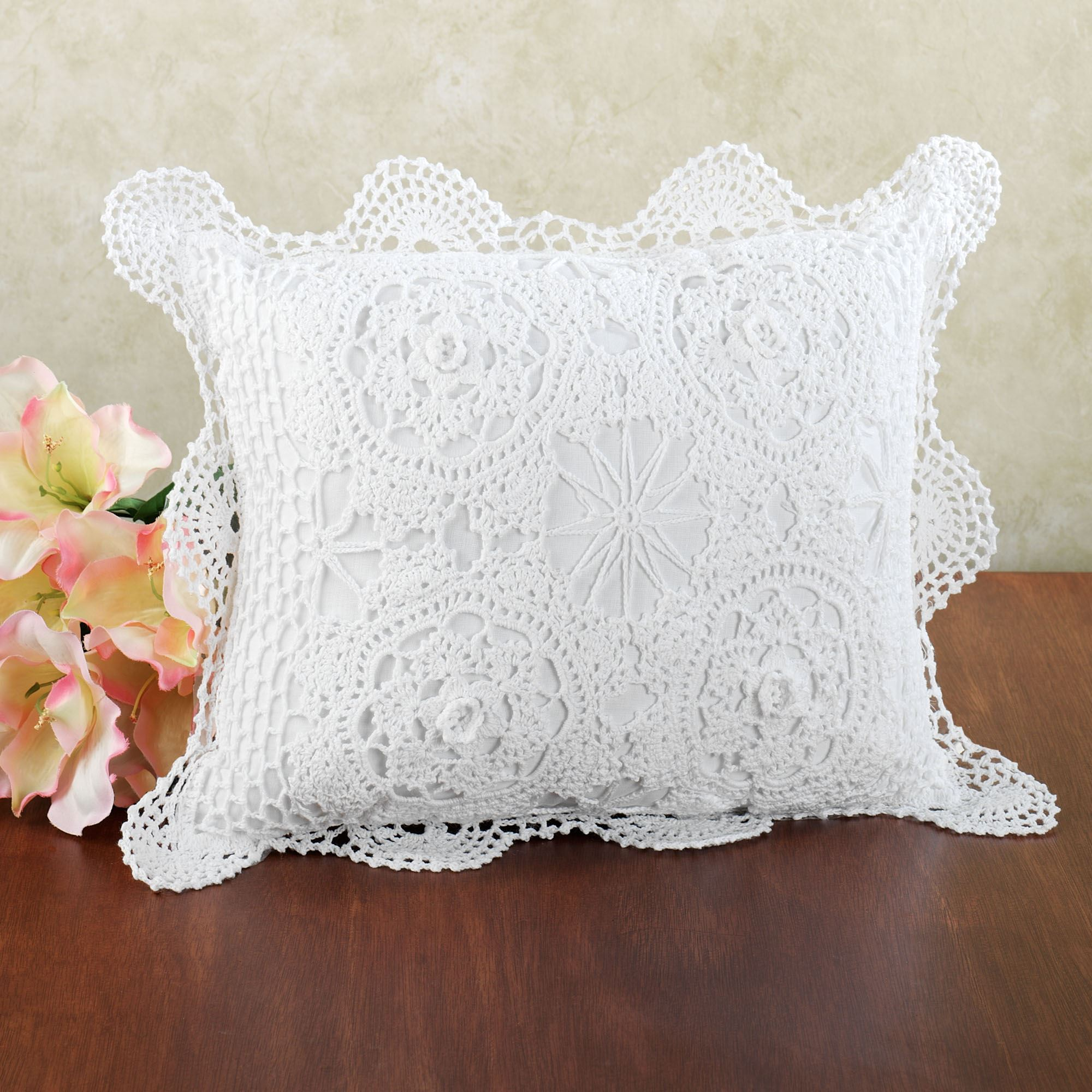 crocheted rectangle accent pillows