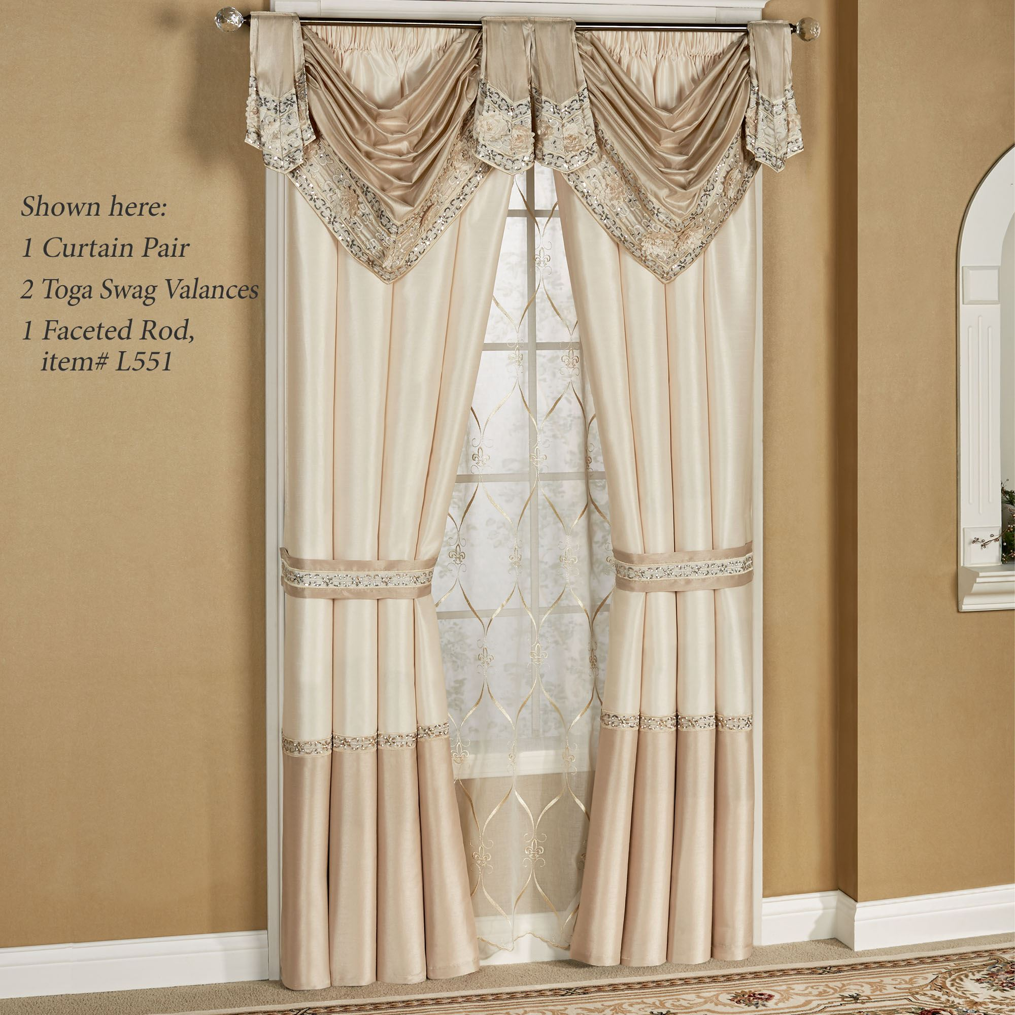 Elegante Toga Valance Faux Silk Window Treatment