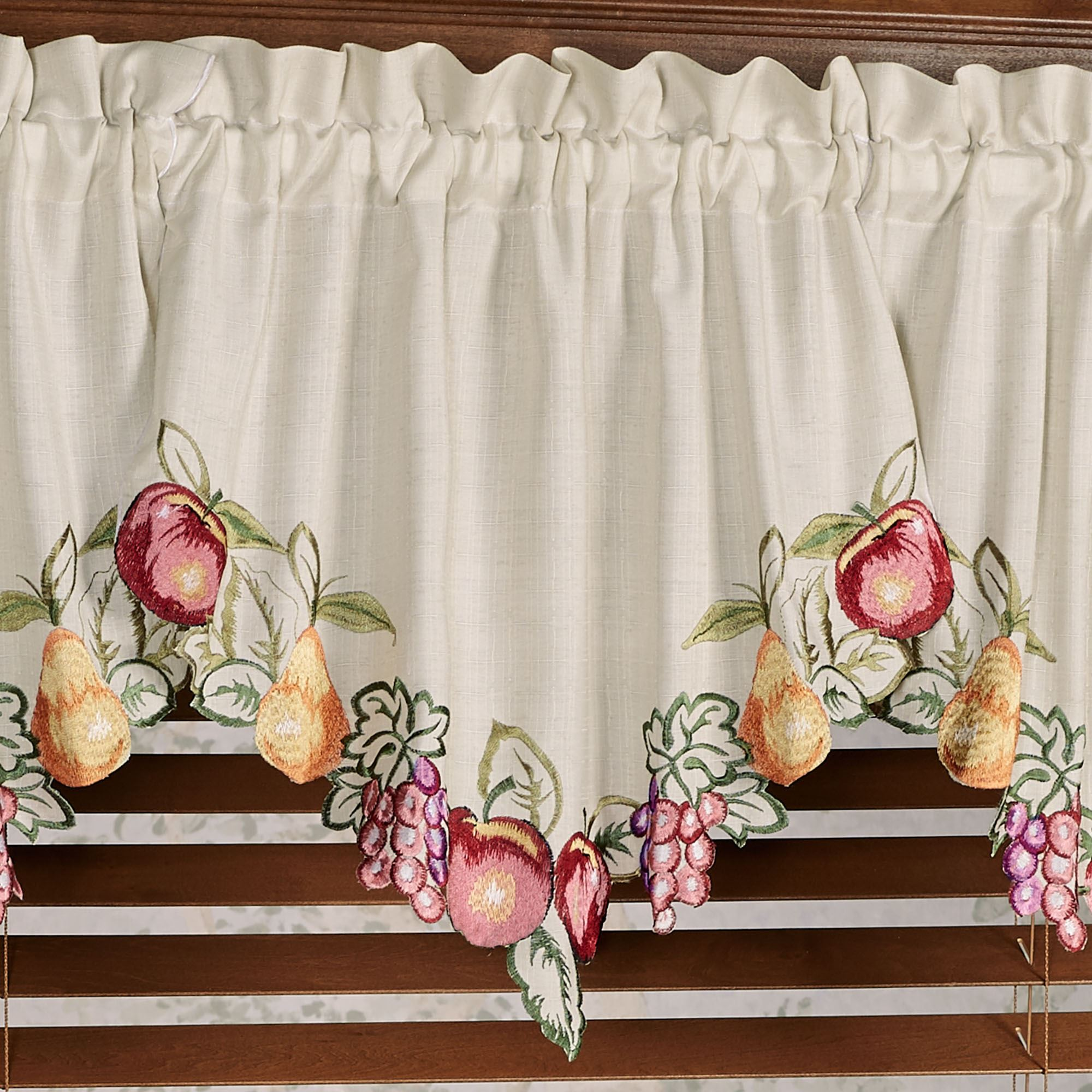 Fruitful Embroidered Kitchen Swag Valances And Tier Curtains