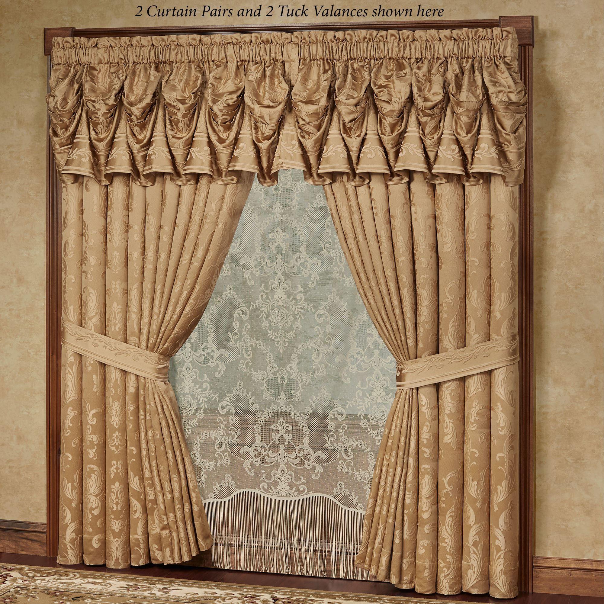 monaco gold damask tuck valance window treatment