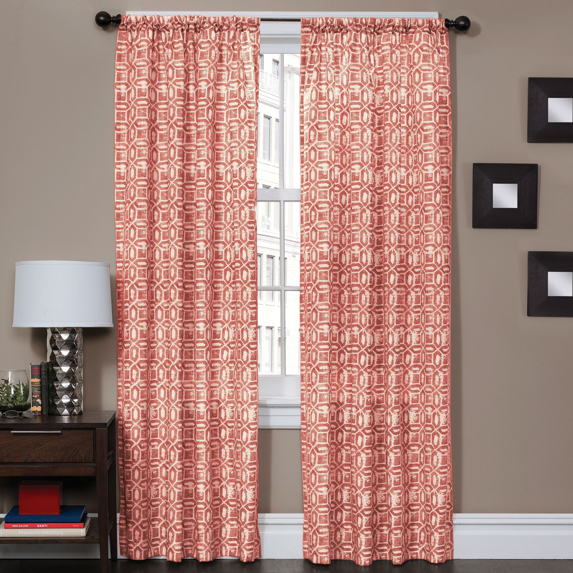 corella geometric patterned curtain panel