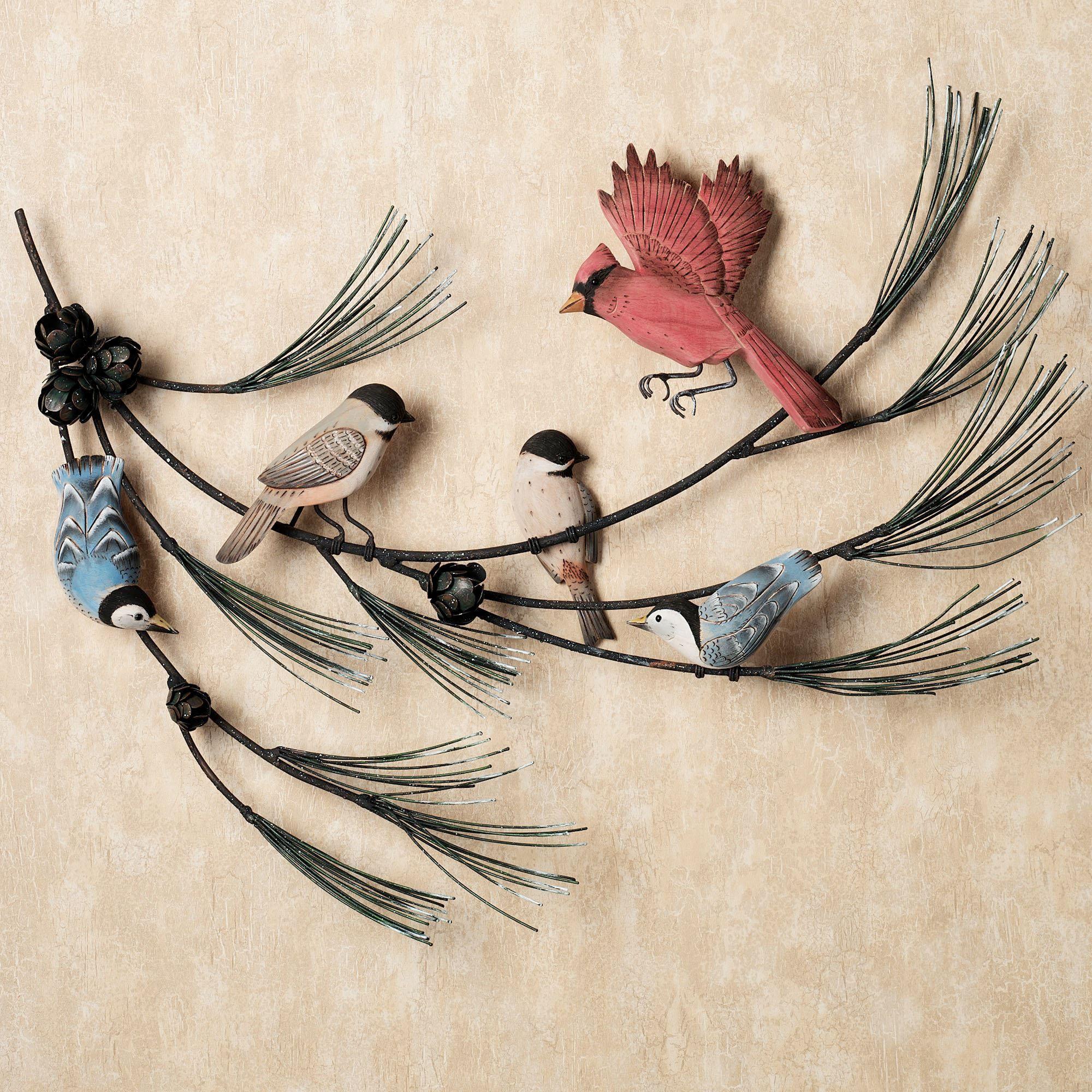 Birds In Pine Branch Wall Sculpture
