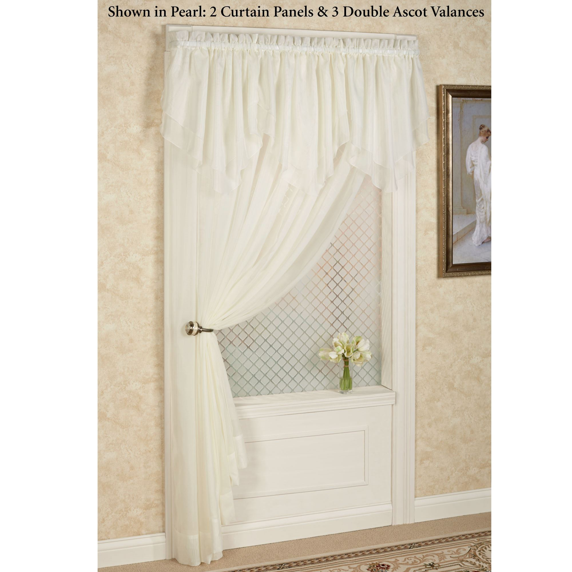 Emelia Sheer Voile Double Ascot Valance Window Treatment