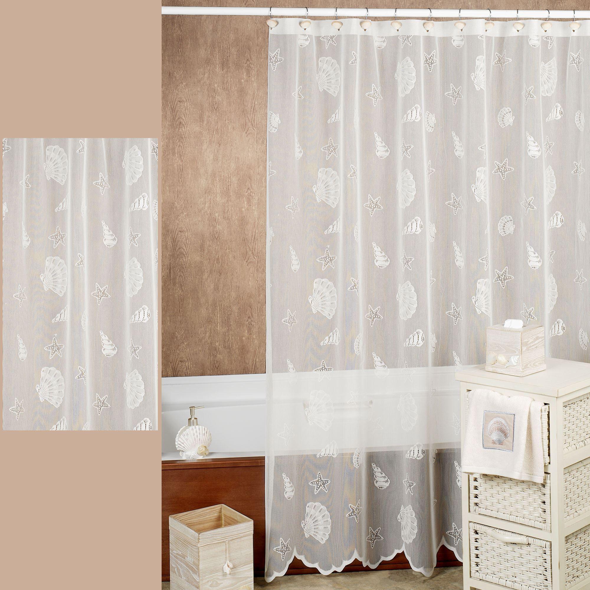 seashells lace coastal shower curtain