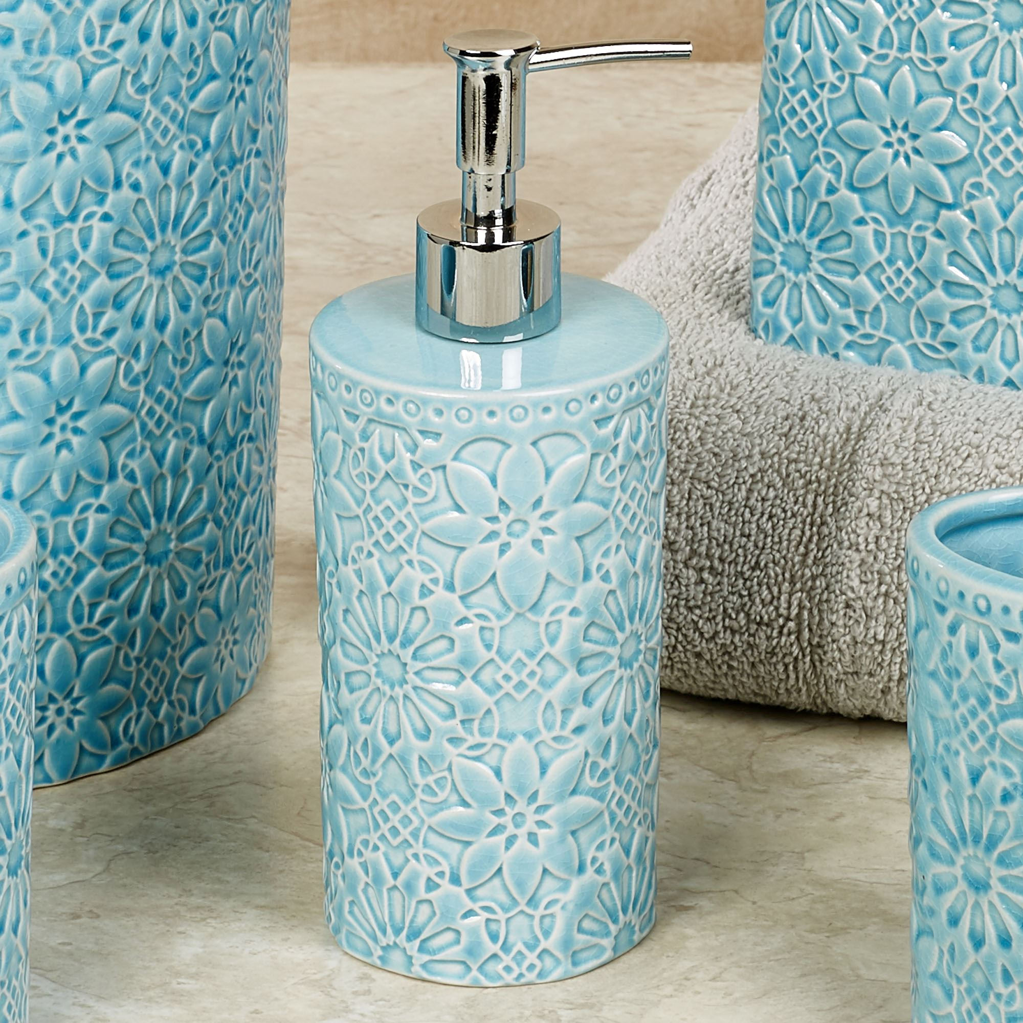 bonito stoneware light blue bath accessories by jessica simpson