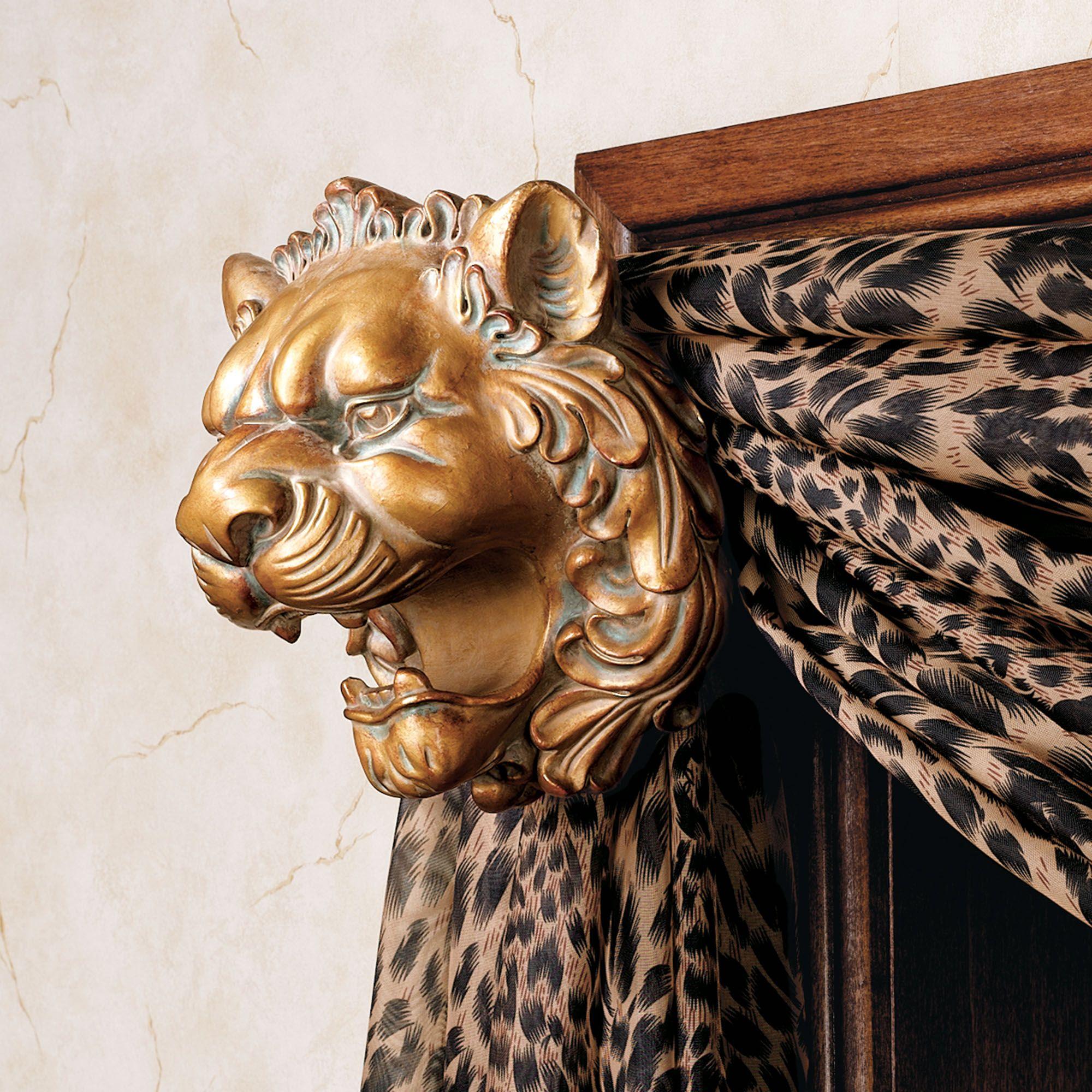 lion head scarf holder pair