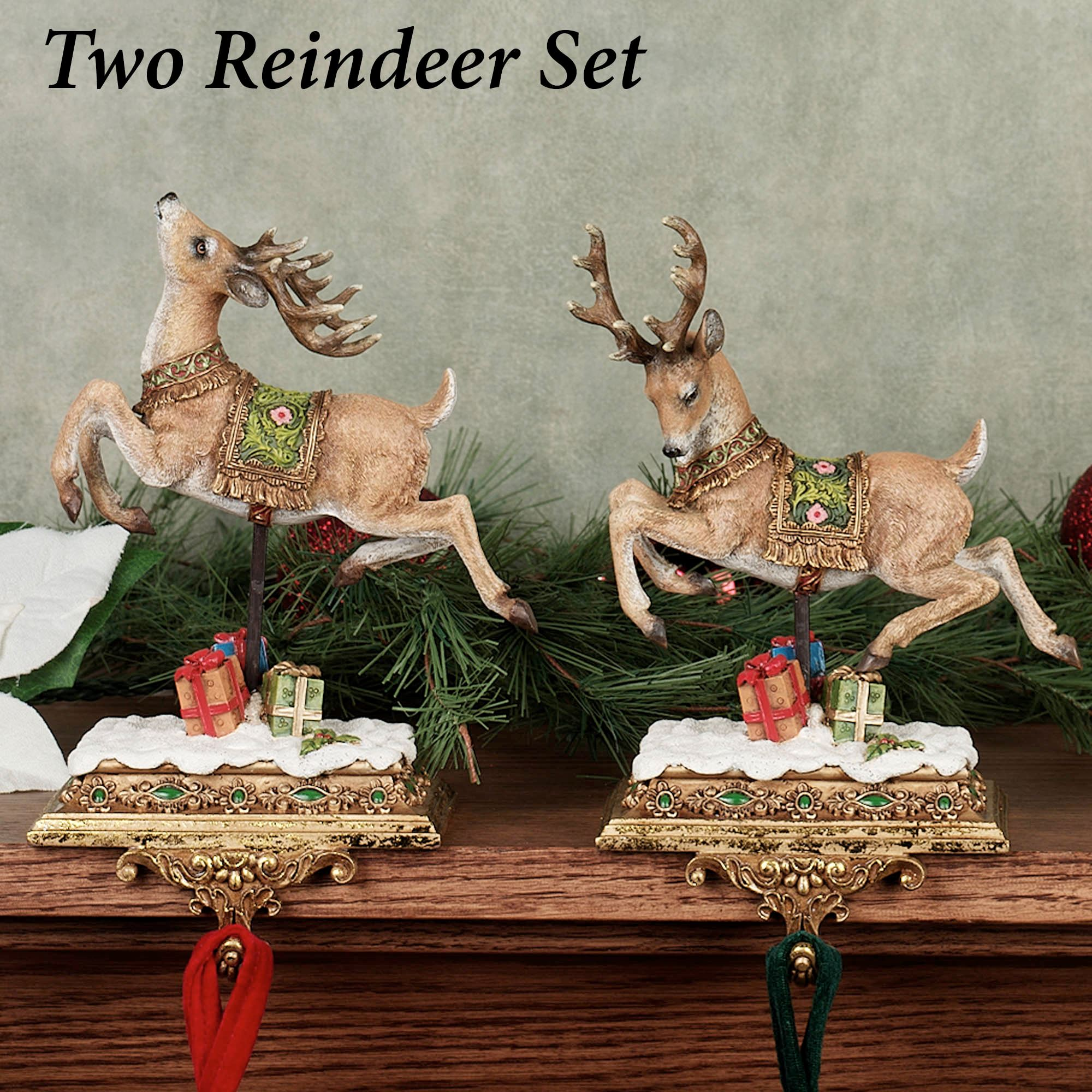 Santa With Reindeer Stocking Holders