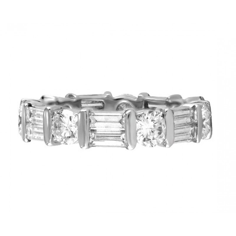 Martin Flyer Baguette And Round Diamond Eternity Band