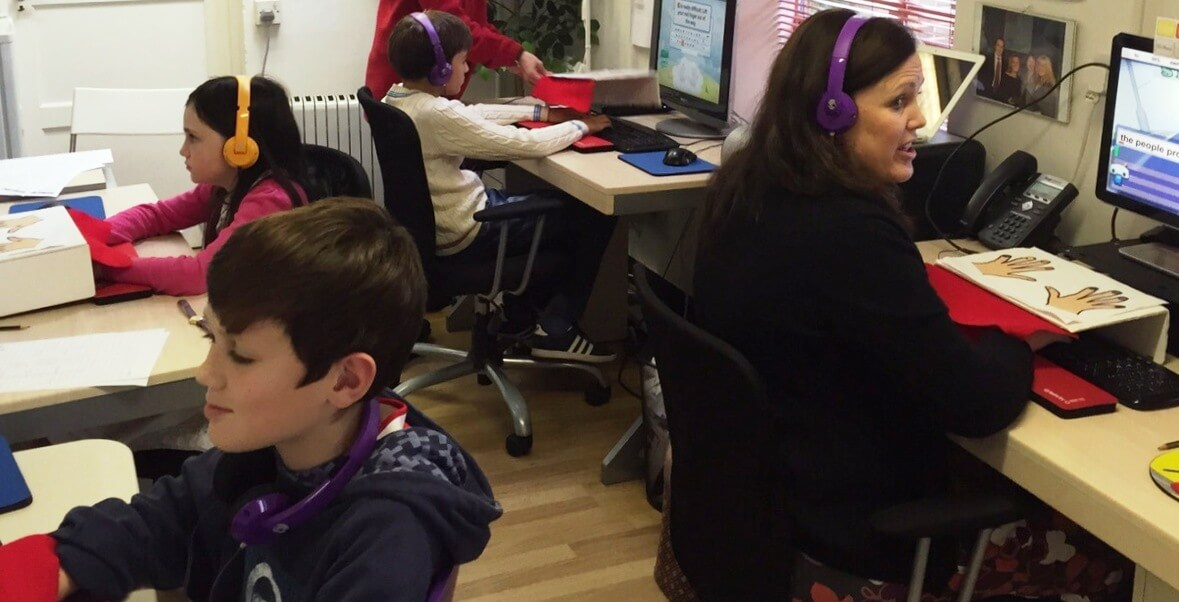 Children learning touch typing at TypeIT
