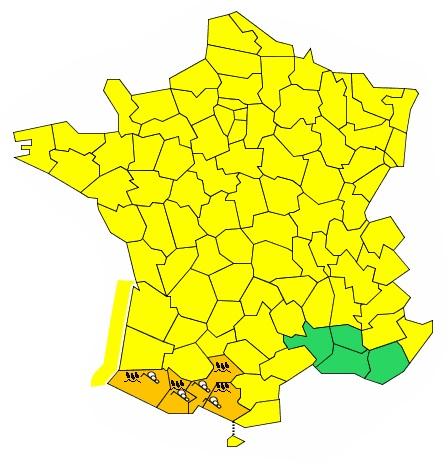 Météo Haute Garonne Hautes Pyrénées Ariège alerte orange