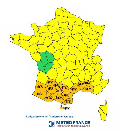 Neige tout le sud ouest de la France alerte orange lundi