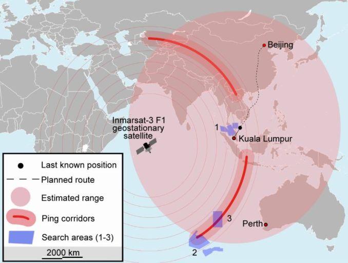 Le plan de vol initial du vol MH370, le point noir correspond à la dernière position connues et en rouge, les zones de recherches Carte : «Map of search for MH370» par Soerfm — Travail personnel. Sous licence CC BY-SA 3.0 via Wikimedia Commons.