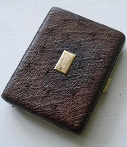 Ostrich leather cigarette case