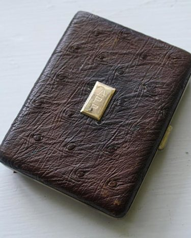Ostrich leather cigarette case