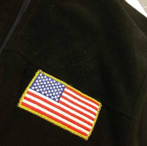 American flag patch on fleece jacket