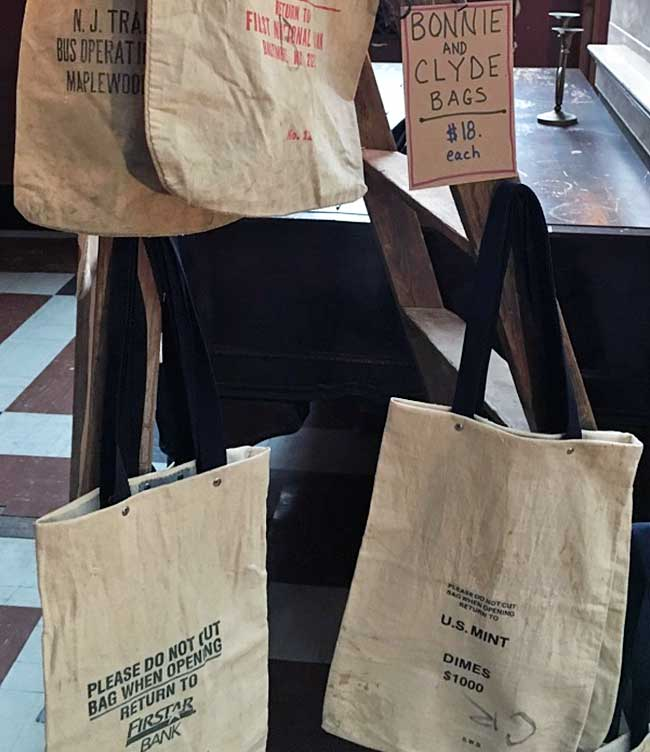 canvas tote bags made from old bank money bags